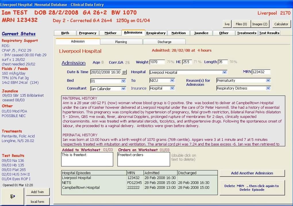 Neonatal Database